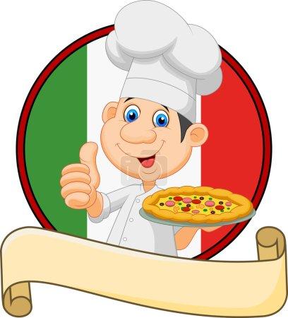 Illustration pour Illustration vectorielle d'un chef de bande dessinée tenant une pizza et donnant un pouce - image libre de droit