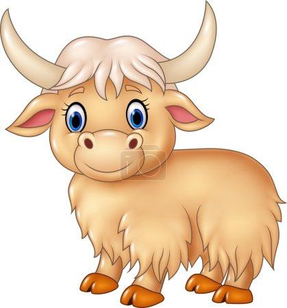 Vector illustration of Cartoon cute yak isolated o...