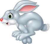 Cartoon funny panic bunny running isolated on white background