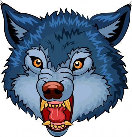 Illustration of Angry wolf cartoon character