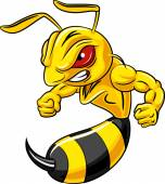 Cartoon angry bee mascot isolated on white background
