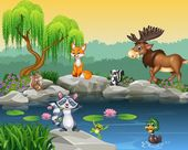 Cartoon funny animal collection on the beautiful nature background