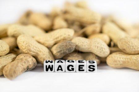 Foto de Texto de salarios con montón de cacahuetes y Letras - Imagen libre de derechos