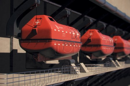 Red Lifeboats On Ship