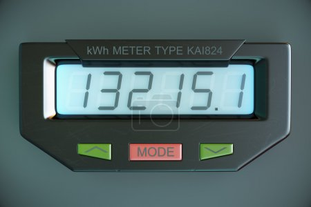 Digital electricity meter showing household consumption. power m