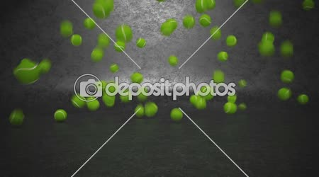 Tennis balls bouncing and rolling