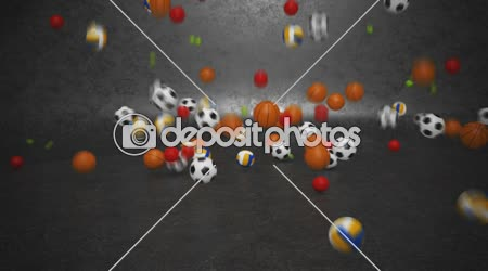 Sport balls bouncing and rolling