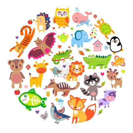 Illustration for Save animals emblem, animal planet, animals world. Cute animals in a circle shape - Royalty Free Image