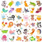 Vector illustration of cute animals and birds: Yak rabbit wolf hen rooster chicken quail giraffe vampire bat cow sheep bear owl raccoon hedgehog whale panda lion deer x-ray fish fox dove crow chicken duck quail crocodile ti