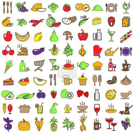 Photo pour Ensemble d'icônes de nourriture et boissons - image libre de droit