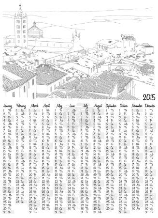 2015 calendar with urban sketch of a toskana village