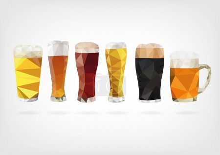Illustration pour Illustration vectorielle sous forme de verres à bière en poly design bas - image libre de droit