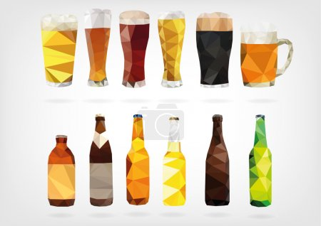 Illustration for Vector illustration in form of Beer Bottles and Glasses in low poly design - Royalty Free Image