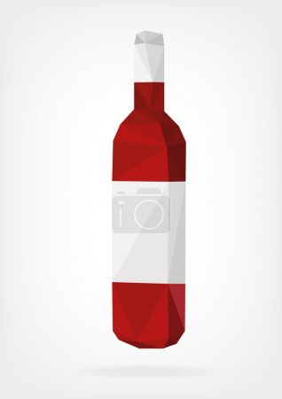 Vector illustration in form of Wine Bottle in low ...
