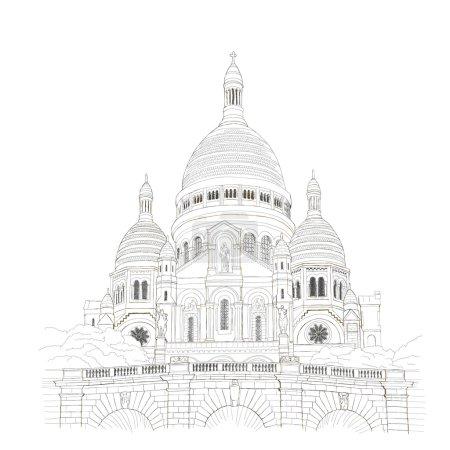 Paris urban sketch of Sacre Coeur de Montmartre