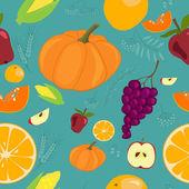 Autumn Fruits Seamless Pattern - Illustration