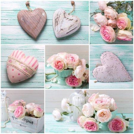 Коллаж с цветами и сердцами