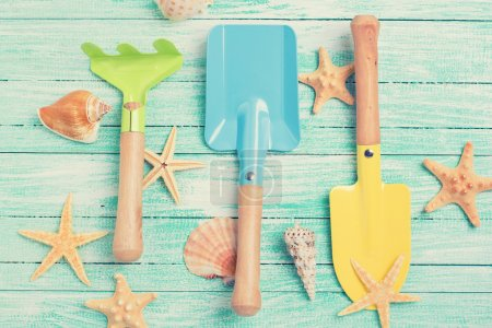 Tools for kids for playing in sand  and sea object...
