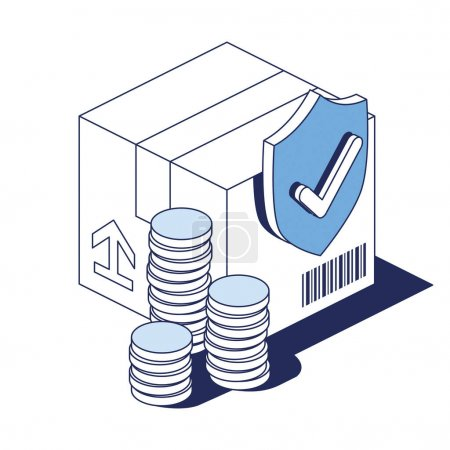 Illustration for Package box, money price, shipping safety. Vector 3d line isometric, color web icons, new flat style. Creative design idea for infographics. - Royalty Free Image