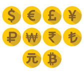 Currency Icons Set Flat design with long shadow