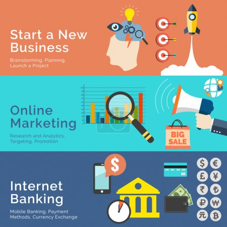 Set of flat design concepts. Start a New Business, Online Market