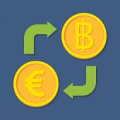 Currency exchange Euro and Baht Vector illustration