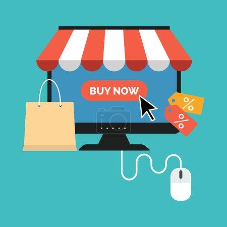 Illustration pour Online shopping concept. Flat design stylish. Isolated on color background - image libre de droit