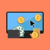 Making money online koncepció. Elegáns, lapos kivitel