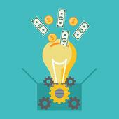 Investing into idea crowdfunding concept Flat design
