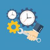 Time management concept Flat design Isolated on color background