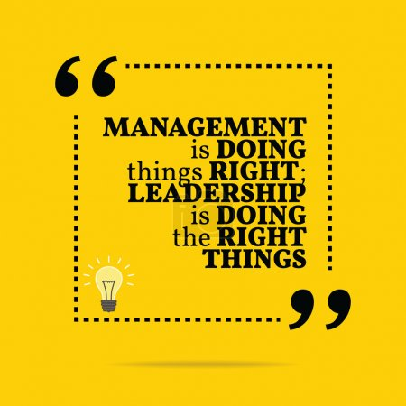 Inspirational motivational quote. Management is doing things rig