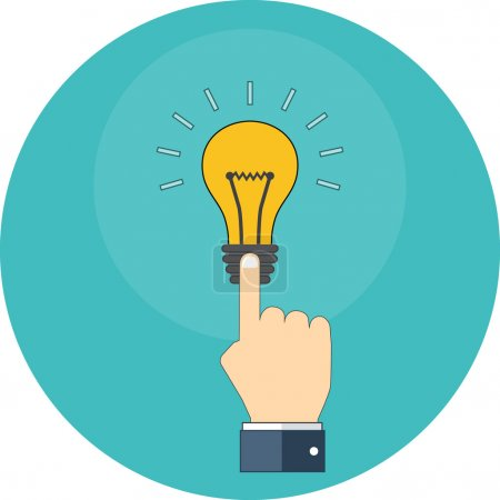 Hand touching light bulb. Know how concept. Flat design.
