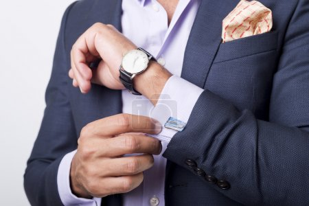 Photo for Man's style. dressing suit, shirt and cuffs - Royalty Free Image