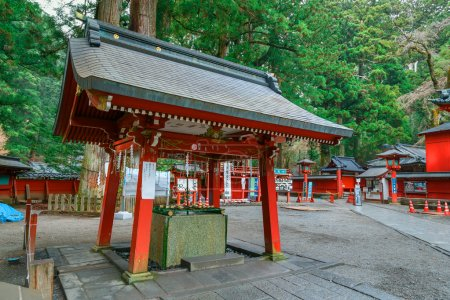 Chuzuya (or Temizuya) purification area at Nikko Futarasan Shrine in Nikko, Tochigi, Japan