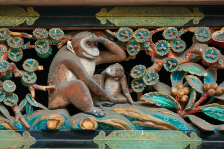 Monkeys Wood Carving at Nikko Toshogu Shrine in Japan