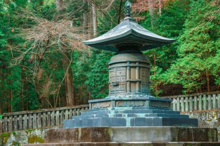 The tomb with urn contains the remains of Tokugawa Ieyasu at Tosho-gu shrine in Nikko, Japan