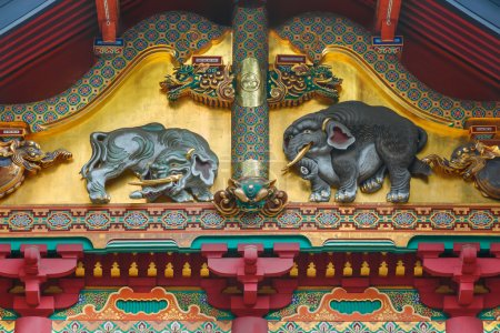 One of the three famous wood carvings Sozonozo Elepants (imagined elephants) at Tosho-gu shrine carved by an artist who had never seen elephan
