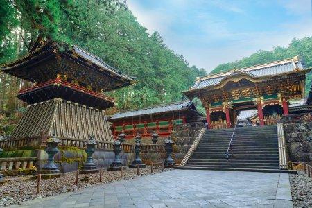 Yashamon Gate with a Drum Tower at Taiyuinbyo - the Mausoleum of Shogun Tokugawa Iemitsu in Nikko, Japan