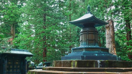 The tomb with urn contains the remains of Tokugawa Ieyasu in Tosho-gu shrine in Nikko, Japan