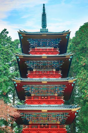 Gojunoto - Five storied pagoda situated in front of Nikko Tosho-gu shrine in Japan
