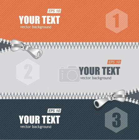 Vector realistic zippers banner 1 2 3 concept. Bac...