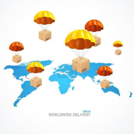 Ilustración de Vector concept of shipping around the world. Global shipment - Imagen libre de derechos