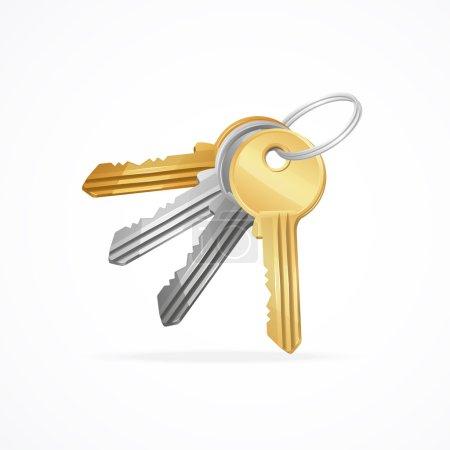 Vector Golden, silver, bronze, metal Keys bunch