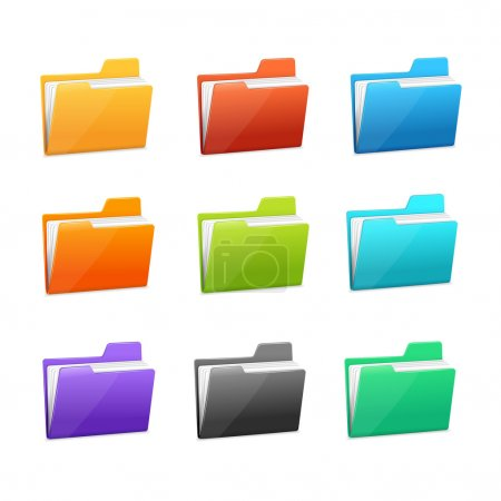 Vector Green file folder icon set isolated on blue...