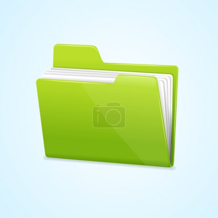 Illustration for Vector Green file folder icon isolated on blue background - Royalty Free Image