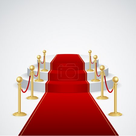 Illustration for Stage podium with red carpet for award ceremony - Royalty Free Image
