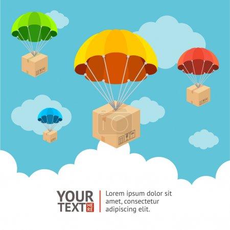 Illustration pour Illustration vectorielle. Parachute avec l'envoi de bannières d'option de carte - image libre de droit