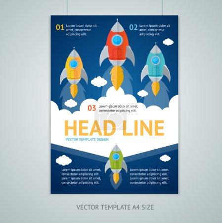 Illustration for Vector illustration flying rocket brochure flyer design templates in A4 size. Startup concept - Royalty Free Image