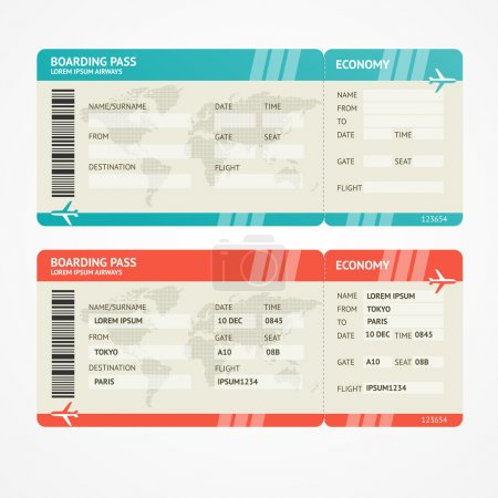Vector illustration airplane tickets. Travel concept. Isolated on white. Enjoy your holiday