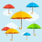 Vector colorful umbrellas fly background Flat design style
